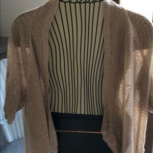 Short sleeve metallic cardigan